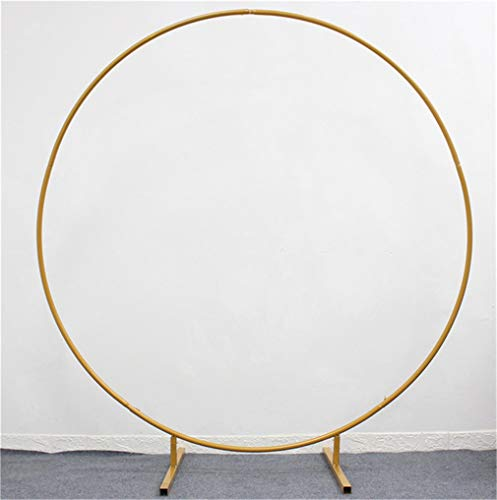 EMGOD Wedding Arch Props Backgroundround Ring Iron Wedding Decorative Backdrop Circle Arch Lawn Silk Artificial Flower Row Stand Wall Shelf,for Wedding Birthday Party Christmas New Year,Gold,2.5m