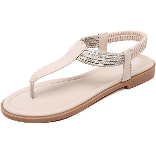 GAXmi Sandalias Mujer Plana Bohemio Espiga Diamante De Imitación Playa Clip Toe Pisos Cómodo Casual Zapatos beige 40 EU (Ropa)