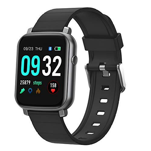 Fitness Tracker with Heart Rate Monitor Blood Pressure Monitoring Activity Tracker with Full Touch Screen IP68 Waterproof Pedometer Smart Watch with Sleep Monitor Stop Watch for Women and Men (Black)