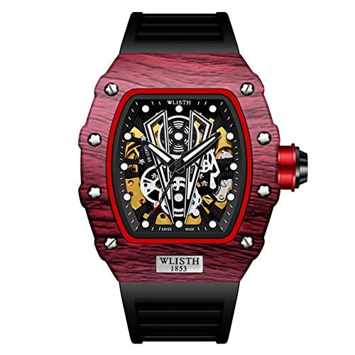GDHJ Relojes mecánicos automáticos de los hombres de moda de la calle de doble cara hueco tridimensional Relojes jóvenes impermeable luminoso reloj de pulsera Cool negro y rojo