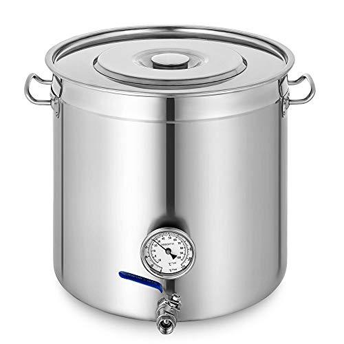 YIYIBY roestvrijstalen soeppan jumbo steelpan steelpan met thermometer voor gastronomie goulash ketel stoofpot 98L zilver