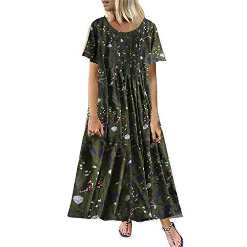 Damen Kleider Sommer O-Ausschnitt Kurzarm Weste Sexy Kleider Damen Strandkleid Plissee Blätter Blumendruck Lose Baumwolle Nähte Kleid Lässig Maxi-Kleid (EU:40, Grün)