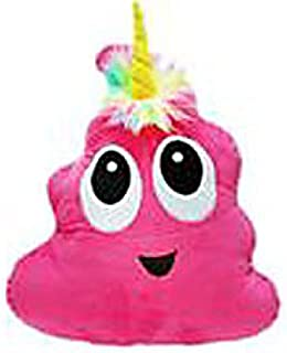 Pink Poo-Nicorn Emoji Pillow, The Poo Emoji with a Unicorn Horn and Rainbow Hair
