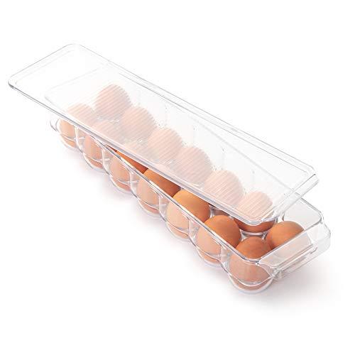 Smart Design Stackable Refrigerator Carton Bin Holder - (Egg 14.65 x 3.25 Inch) - BPA Free Plastic Container - for Fridge, Freezer, Pantry Organizer - Kitchen Organization [Clear]