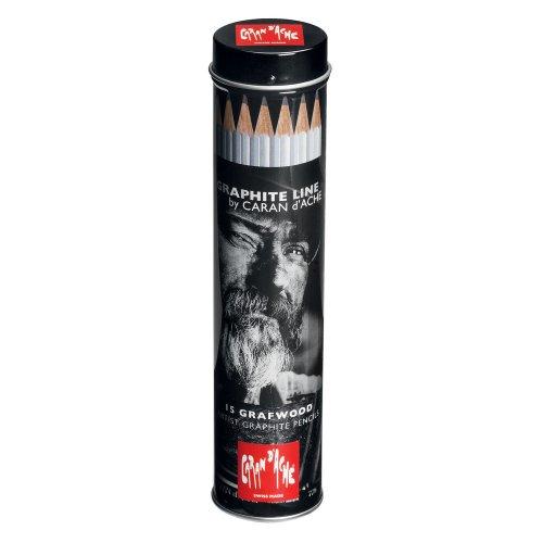 Caran Dache Graphite Line metalen cilinder met 15 gesorteerde gesorteerde potloden (9B-4H)