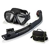 FinaTider Snorkel Mask Anti-Fog Snorkel Set with Anti-Leak Foldable Snorkeling Gear for Adults Free Breathing Snorkel Kit for Kids Adjustable Snorkel Gear