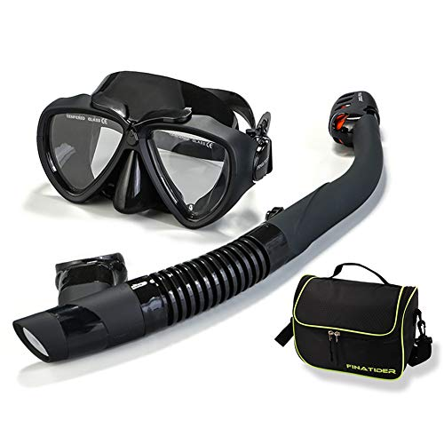 FinaTider Snorkel Mask Anti-Fog Snorkel Set with Anti-Leak Foldable Snorkeling Gear for Adults Free Breathing Snorkel Kit for Kids Adjustable Snorkel Gear