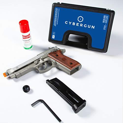 Cybergun Pistola Softair Modello Taurus Hairline Colore Silver Full Metal a C02 Azione Singola e Raffica, Scarrellante Caricatore da 26 Pallini (Kit Base)