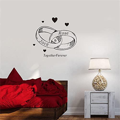 XAOQW Nombre Personalizable Pareja romántica Anillo Pared Pegatina decoración casa decoración Pareja Anillo Regalo Vinilo Fondo de Pantalla Mural-Black_42X46CM