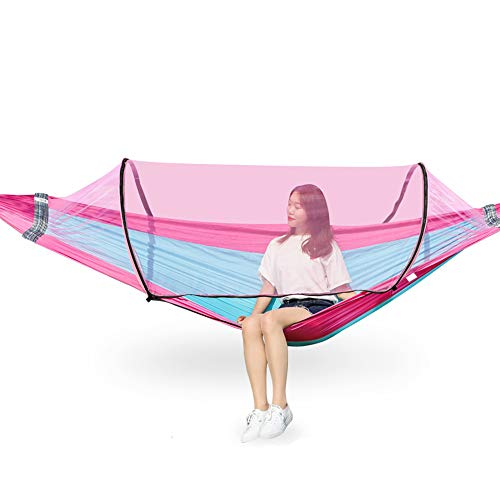 Q4 Outdoor hammock, double rocking chair swing, with mosquito net, safety load 300kg, for outdoor use, terrace garden hammock, sky blue pink