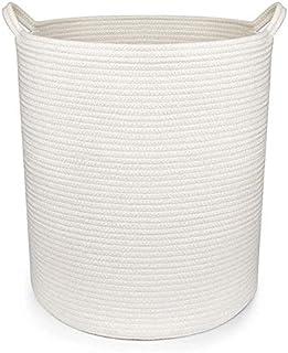 YOURO ランドリーバスケット ランドリー収納 丸型 洗濯かご 布製 収納ボックス 綿麻生地 撥水加工 洗濯物用かご シンプルでおしゃれ収納袋 37*37*45cm