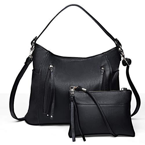 VBIGER Handtasche Damen Schwarz Hobo Schultertasche Groß Shopper Henkeltasche Set 2 in 1 Umhängetasche Damen Klein für Büro Schule Einkauf Reise