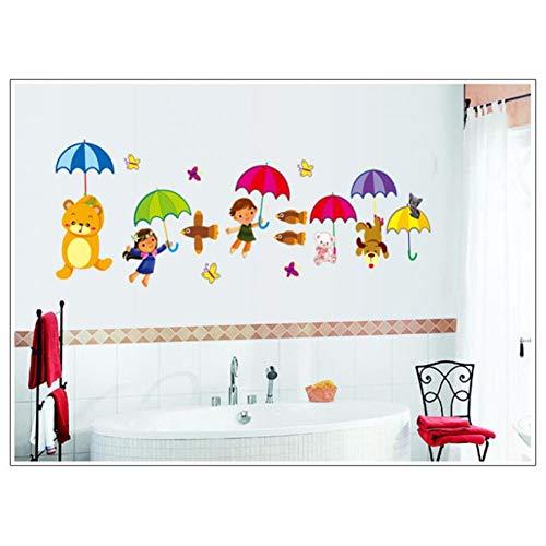 Cartoon Paraplu Beer Vis buttterfly Muurstickers voor Kids Kamer Muurdecoratie Verwijderbare PVC Muurstickers Decoratieve DIY