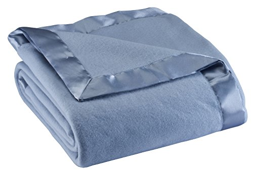 OakRidge Satin Fleece Blanket, Full/Queen, Twin or King Size – 100% Polyester Lightweight Fabric and Cozy Satin Binding Edges in Tightly Folding Travel Blanket, Blue