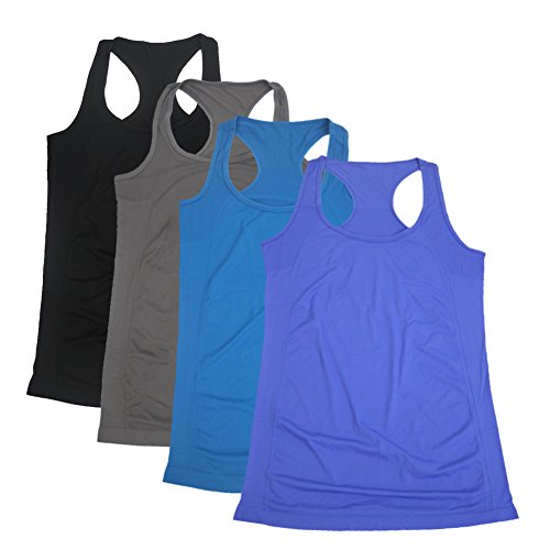 Semath Women's Active Racerback Plus-Size Athletic Sports T-shirt Long Yoga Crop Tank Top 2 Pack Blue