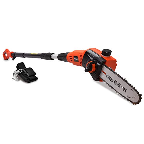 MAXLANDER Electric Pole Saw, 6A Corded Pole Chainsaw, 12.5m/s Fast Cut 8 Inch Light Weight Telescopic Pole Saw for Tree Trimming Tool-less Chain Tension (6A Pole Saw)