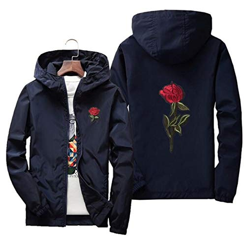 HNOSD Embroidery Rose Flower Windbreaker Jacket Men Big Size Hooded Bomber Jacket Skin Mens Jackets Masculina Navy Blue M