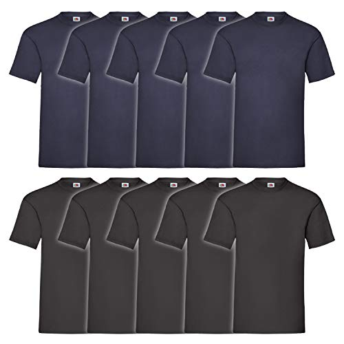 Fruit of the Loom Herren T-Shirt Valueweight, 10er Pack, 5Schwarz/5Navy, Large