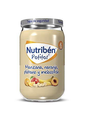 Nutribén Potitos de Manzana, Naranja, Plátano y Melocotón desde los 6 Meses, 235 g (Paquete de 1)