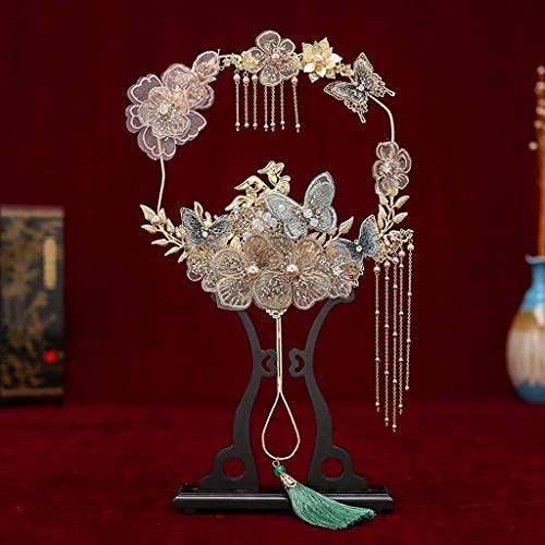 Sgxiyue Elegantes Ramos de Mano de la Mano de la Mano del Ventilador de Encaje de la Mariposa de Las Apliques de la Mariposa de Las Perlas de la Novia de la Novia de la Boda del clásico Fan