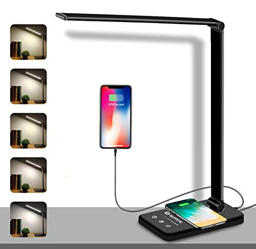 LED Desk Lamp, Wireless Charging Lamp, Sunfuny Office Table Lamps with Qi Wireless Charger, USB Charging Port, Dimmable 25 Lighting Modes, 30min/1h Timer, Touch Control (Black)