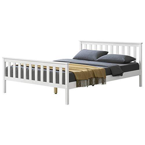 [en.casa] Holzbett 140x200cm Weiß mit Hohem Kopfteil und Lattenrost Bettgestell Bett Kiefernholz Doppelbett Jugendbett