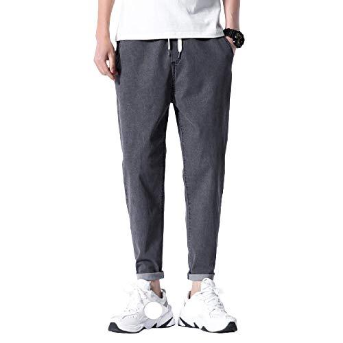 Huntrly Pantalones Vaqueros para Hombre Tendencia de Primavera Casual con cordón Pantalones Vaqueros de Cintura elástica Tendencia Pantalones de Mezclilla Sueltos Deportivos para Correr 4XL