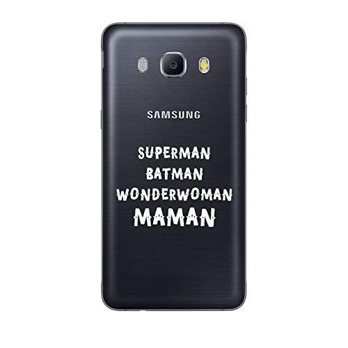ZOKKO Coque Galaxy J7 2016 Superman Batman Wonderwoman Maman - Souple Transparente Encre Blanc