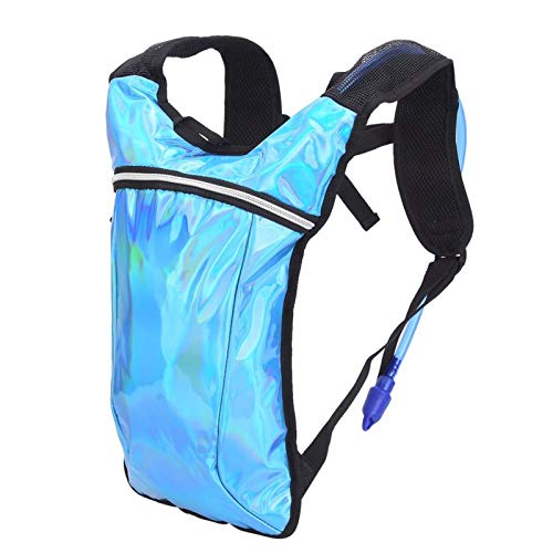 DAUERHAFT Mochila de Agua para Ciclismo Mochila Resistente de PU Resistente y Ligera, con Dos Compartimentos Independientes, para Excursionismo, Camping((Blue))