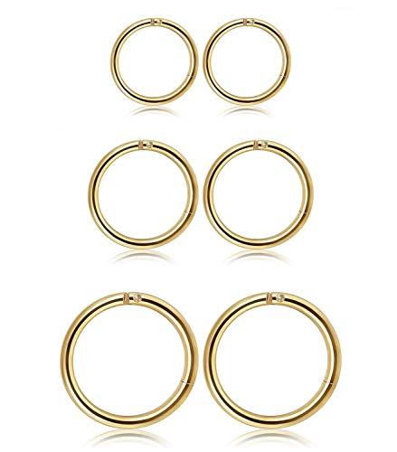 Milacolato 6-10MM 3Pairs Stainless Steel Hoop Earrings for Men Women Ear Lips Piercing Septum Earrings Body Piercing
