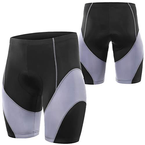 WWAIHY Culotte Ciclismo Hombre,3D Almohadilla De Silicona Pantalones Ciclista Antideslizantes Y Transpirables,MTB Culotte Ciclismo,para Senderismo Correr Deporte(Size:S,Color:Gris Negro)