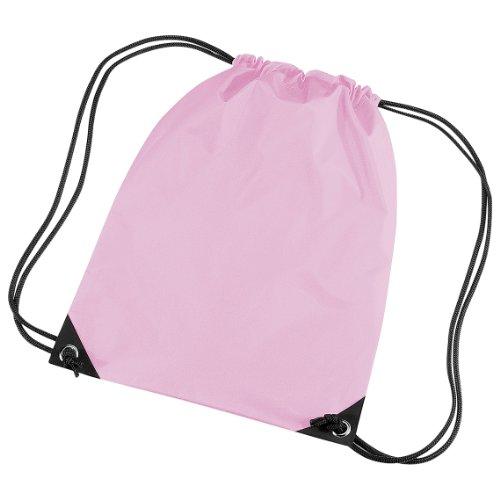 BagBase - Mochila saco o de cuerdas Impermeable/resistente al agua Modelo Premium Deporte/Gimnasio (11 litros) - 34 Colores (Paquete de 2) (Talla Única) (Rosa clásico)