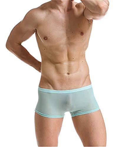 Yomie Hommes Slips Soie De Glace sans Couture Respirant Boxeur Briefs Transparent Confortable Taille Basse Culottes,XL,Bleu 1