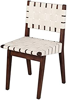Risom Replica Dining Side Chair in White/Almond Wood Stain