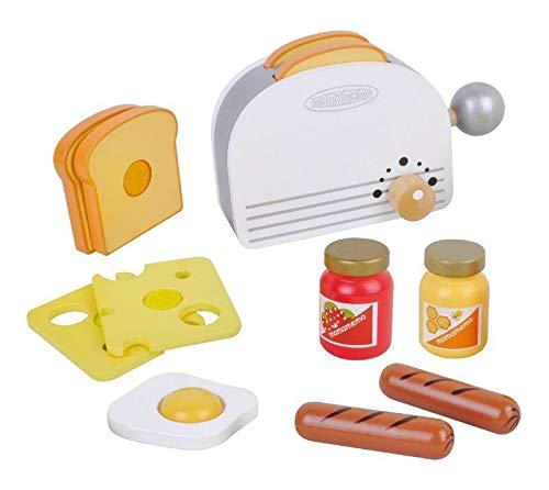 Juego infantil con tostadora de madera, juego de imitación para niños con comida de juguete y accesorios incluidos