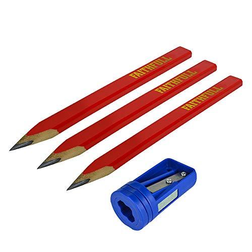 Faithfull - Tischler Bleistifte Red Pack 3 + Sharp Card - FAICPSHARP