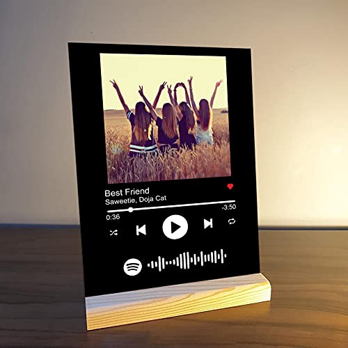 Giftplease Personalized Gift Glass Art Custom Album Cover Spotify Music Plaque, Personalize Gift with Photo, Gifts for Boyfriend,...