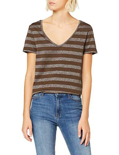 Only Onlalexa S/s V-Neck Top Jrs Camiseta, Multicolor (Beech Stripes: Silver), Medium para Mujer