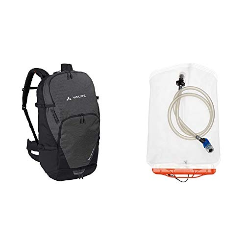 VAUDE Rucksäcke30-39l Bike Alpin 25+5, Geräumiger Mehrtages- und Alpencross-Rucksack für Mountainbiker, black, one Size, 129470100 & Trinkblase Aquarius Pro 2.0, transparent, One Size, 303350000