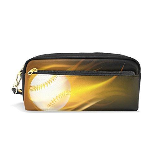 BENNIGIRY Baseball Feuer Bleistift Fall tragbar Pen Tasche Student Schreibwaren Pouch PU Leder Groß Kapazität Reißverschluss Make-up Kosmetiktasche