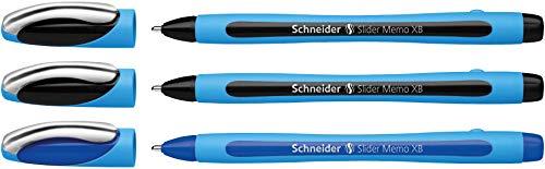 Schneider Slider Memo XB Kugelschreiber (mit Kappe, Strichstärke: XB, Schreibfarbe: schwarz/schwarz/blau, Made in Germany) 3er Etui