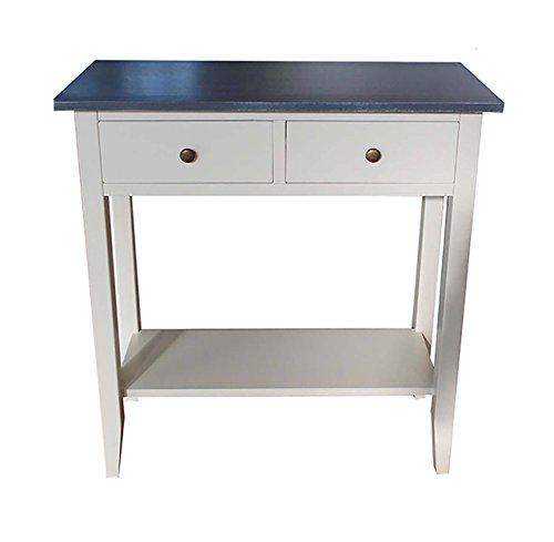 Console Table d'appoint ameublement Maison Design 2 tiroirs 1 étagère Color Blanc avec Top Gris