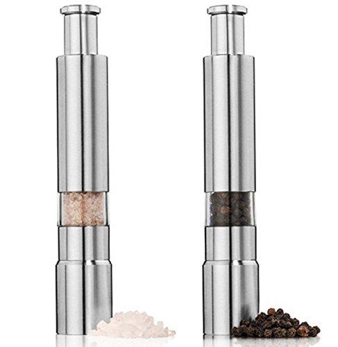 Happon ミル ペッパーミル ソルトミル 調味料挽き ステンレス製 片手 ワンプッシュ式 手動 2個セット
