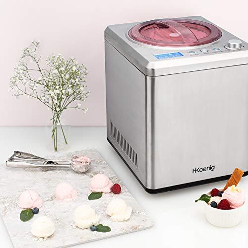 H.Koenig professionelle Eismaschine HF340 - Elektrisch - 2 L - 180 W - Kühlfunktion - Schnelle Zubereitung - Eis, Frozen Joghurt und Sorbet