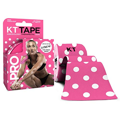 KT Tape Pro Extreme Therapeutic Elastic Kinesiology Sports Tape, 20 Pre Cut 10 inch Strips, 100% Synthetic Water Resistant Breathable, Pro & Olympic Choice, Pink Polka Dots