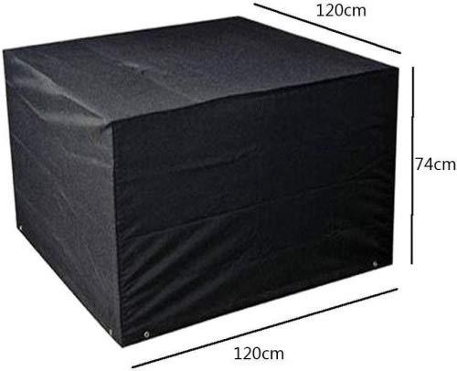 Hzjundasi 120 * 120 * 74cm Noir Jardin Meubles Imperméable Boîtier étui Protecteur pour Carré Cube Table Banc