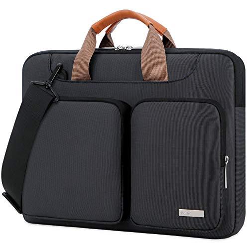 "Lacdo 15.6 Inch 360° Protective Laptop Sleeve Case Computer Bag for 15.6"" Acer Aspire, Predator, Inspiron, ASUS ZenBook 15 VivoBook, HP Pavilion, Lenovo IdeaPad 330, ThinkPad E590, Chromebook, Black"