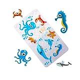 WARRAH Premium None-Slip Kids Tappetino da Bagno – Anti scivoloso novità Doccia – Tappetino da Bagno Pavimento tappetini Antiscivolo Vasca da Bagno per Neonati, Bambini Blu Octopus