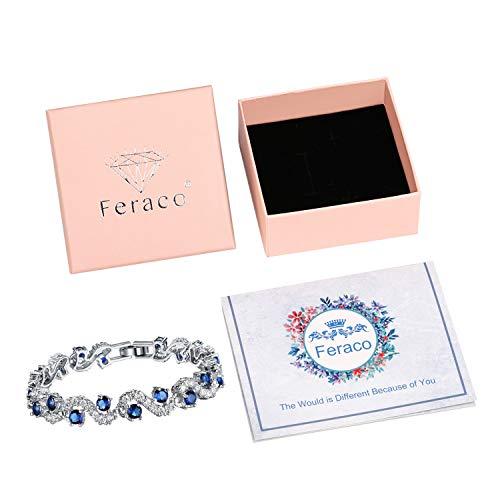 Platinum Plated Cubic Zirconia Bracelet For Women Sparkle Crystal Wrist Band Bangle Wedding Jewelry,Blue Silver 17cm