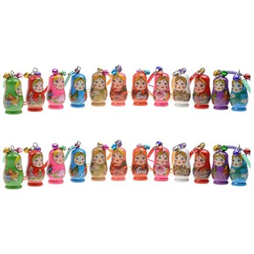 STOBOK Matroschka Russische Puppen Schlüsselanhänger Hölzerne Russische Nesting Dolls Schlüsselanhänger,24Er Set